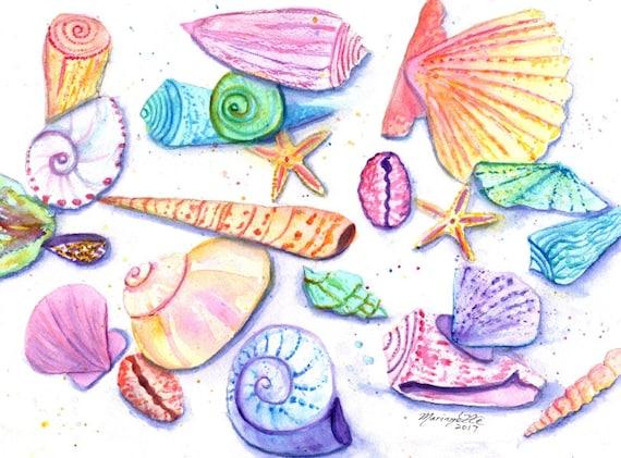 Seashell Decor, seashell watercolor, seashell artwork, beach art, seashell art handmade, kids room art, seashell art pictures