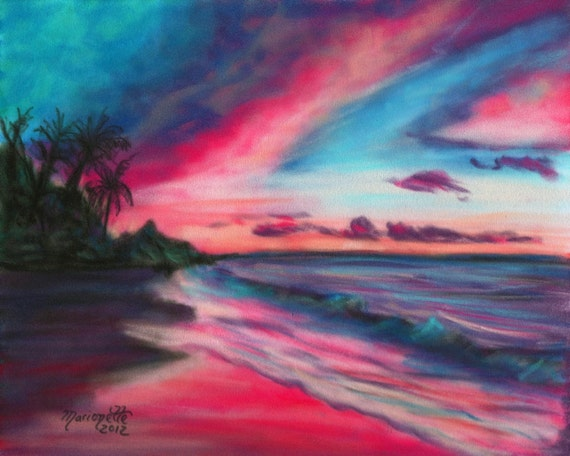 sunrise art prints, Hawaii print, sunrise paintings, kauai beach art, hawaiian artwork, seascape wall art, kauai art, Hawaiian seascape