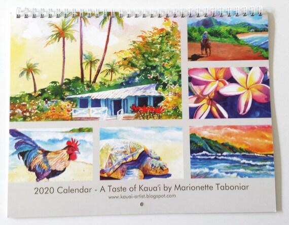 2020 Wall Calendar, 2020 Calendar, Hawaii Calendar, 2020 Planner, Illustrated Calendar, Kauai Calendars, Art Calendar, Artist Calendar