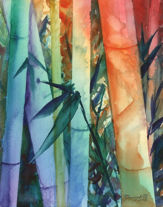 Bamboo art prints, rainbow bamboo, colorful paintings, Kauai Maui Hawaii art, Japanese bamboo, asian zen, whimsical bamboo, Oriental art