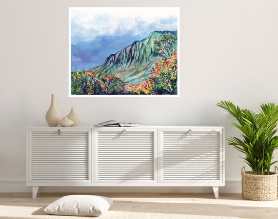 Kauai Beautiful Kalalau Valley Large Art Print 16x20 18x24 24x30 Hawaiian Art Kauai Art Hawaiian Decor Hawaii Art Print