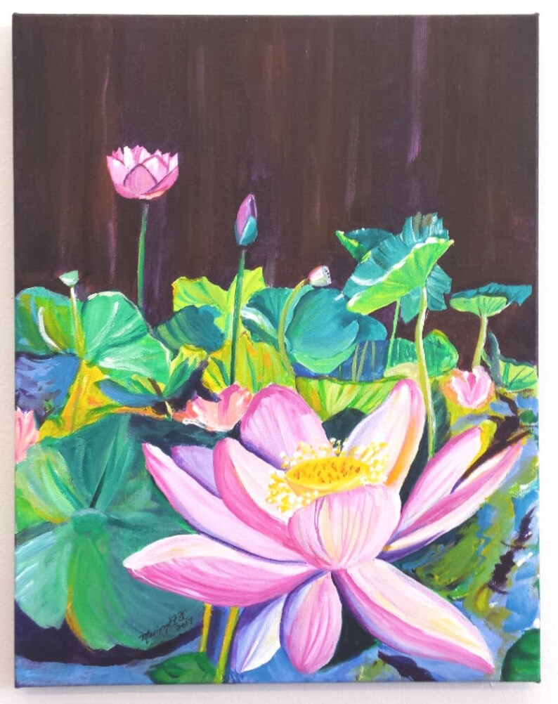 Lotus Flower Original Acrylic Painting From Kauai Hawaii Pink Etsy