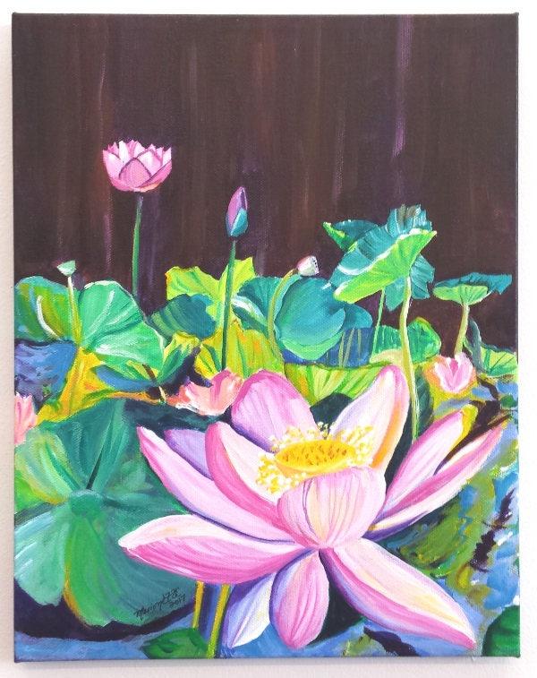Lotus flower original acrylic painting from kauai hawaii pink lotus lotus flower original acrylic painting from kauai hawaii pink lotus garden tropical flower art zen water gardens hawaiian interior design mightylinksfo