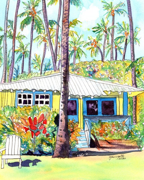 Kauai art prints, Kauai Plantation Cottages, Sweet Aloha Cottage, Hawaiian art, Kauai art, Kauai vacation art, kauaiartist, Hawaii wall art