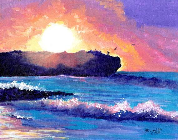 Shipwrecks Beach Kauai Sunrise, Kauai Seascape, Hawaiian seascape, hawaii art, Kauai decor, Kauai art print, Kauai artist, made in Hawaii