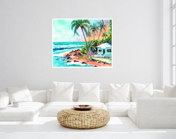 Cottage on the Beach Large Art Print 16x20 18x24 24x30 Hawaiian Art Kauai Art Hawaiian Decor Hawaii Art Print Beach House