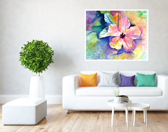 Hibiscus Fun Large Art Print 16x20 18x24 24x30 Hawaiian Art Kauai Art Hawaiian Decor Hawaii Art Print Aloha Flower Tropical