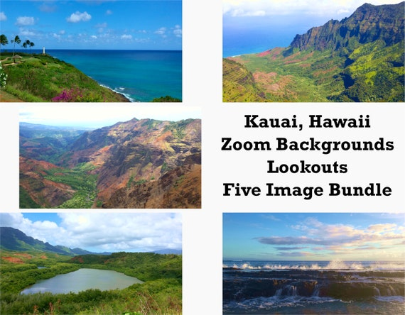 Zoom Backgrounds Bundle - Kauai, Hawaii - Kauai Zoom Backgrounds - Hawaiian Zoom Seascapes - Tropical Zoom Virtual - Kauai Lookouts