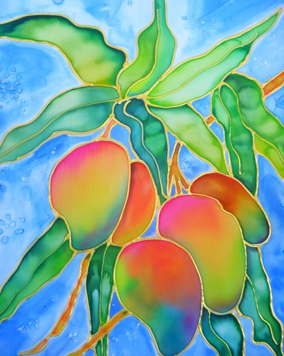 Mango art, Hawaiian Mangoes, Mango print, Hawaiian fruit, Hawaii art, Hawaiian painting, Kauai art, tropical fruit, colorful mangoes