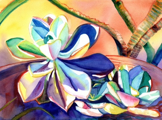 Succulent Wall Art, Succulent Gift, Succulent Painting Original, Succulent Watercolor, Succulent Decor, Succulent Thank You, Nursery Decor