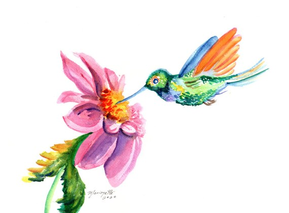 Hummingbird art print, watercolor bird with flower, flying hummingbird, handmade print for bird lovers, whimsical wall decor