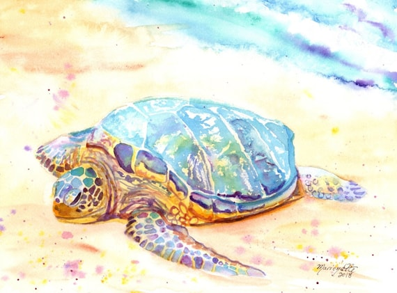 Sea Turtle Print,  Kauai Art, sea turtle, Hawaii art, turtle painting, ocean art, Hawaii painting, tropical art, turtle print, Hawaii decor