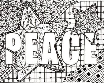 Printable DIY Zendoodle PEACE card 5x7 pdf from Kauai Hawaii Mele Kalikimaka Christmas doodle black white zentangle inspired art