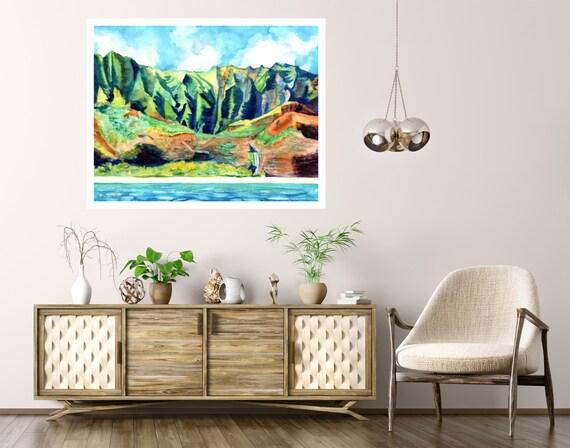 Kauai's Na Pali Coast Large Art Print 12x16 16x20 18x24 24x30 Hawaiian Art Kauai Art Hawaiian Decor Hawaii Art Print