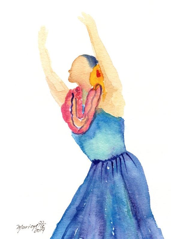 Hula Watercolor,  Original Hula Girl Painting,  Hula Dance,  Modern Hula, Hula Art, Hawaii Decor, Hawaii Art, Hawaii Watercolor Paintings