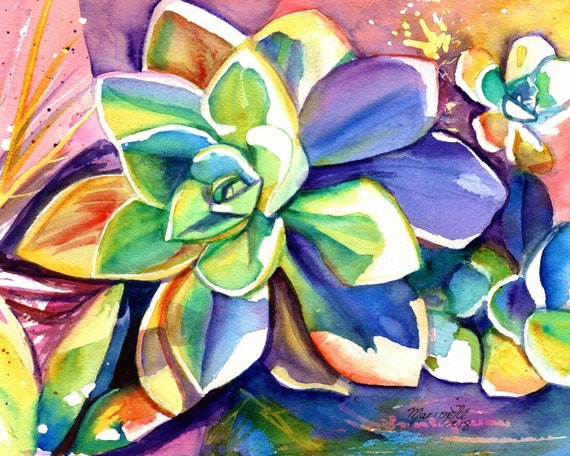 succulent painting, succulent prints, watercolor print, cactus paintings, Hawaii art, Succulent art, cactus decor, colorful watercolors