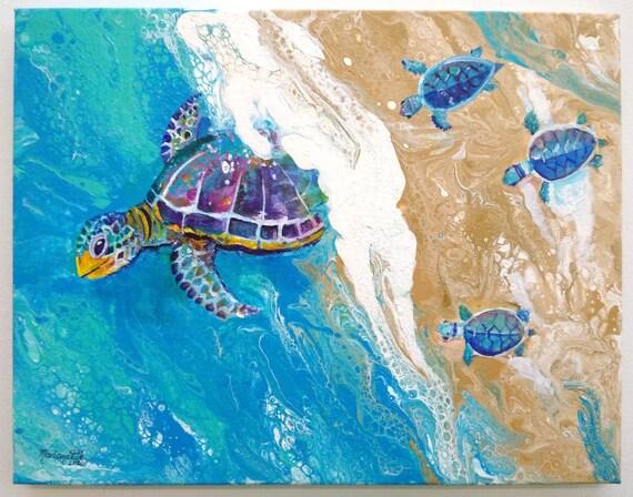 Baby Sea Turtle Wall Art, Sea Turtle Original Painting, Turtle lovers, Honu Hawaiian Turtles, Nursery art, Ocean decor, Beach decor