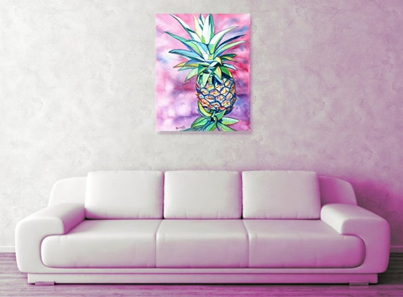 Hawaiian Pineapple Large Art Print 16x20 24x30 Hawaiian Decor Hawaii Wall Art