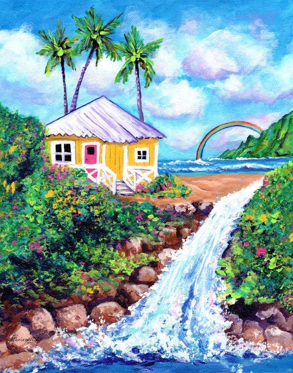 Waterfall Cottage, Kauai Print, Kauai Painting, Hawaii Wall Art, Beach House, Rainbow, Hawaiian Decor Decor, Hawaiian Art, Kauai Artist
