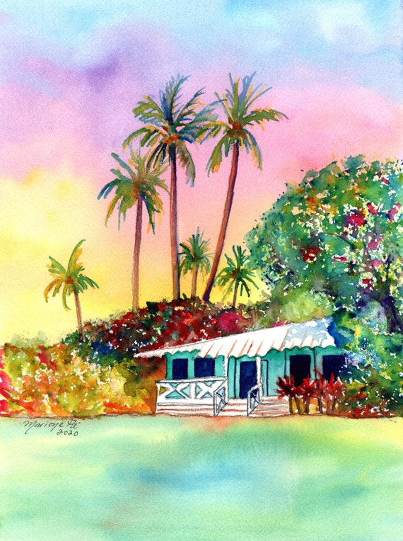 Whimsical Cottage, Plantation House Watercolor, Kauai Art, Hawaii Decor, Hawaiian Hale, Waimea Cottages, Vacation, Plantation Painting
