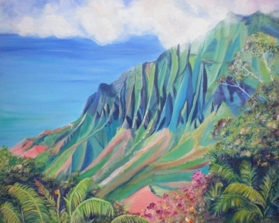 Kalalau Trail, Kalalau Valley Print, Hawaii Art Print, Kauai Painting, Kauai Art, Hawaii Wall Art, Tropical Print, Hawaii Painting, Kokee