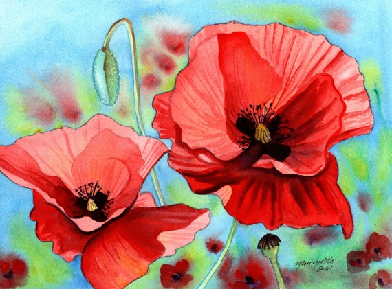 Poppy Watercolor Painting, Red Poppies, Poppy Wall Art, Flower Watercolor, Mothers Day