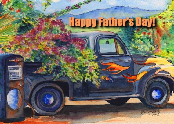 Printable DIY Father's Day card 5x7 pdf Kauai Old Truck by Marionette Hanapepe Bougainvillia Flames