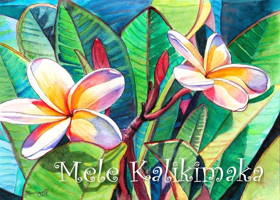 Plumeria Mele Kalikimaka Card, Hawaiian Christmas, Xmas Cards, DIY Printable 5x7 PDF, Hawaii Holiday Vacation, Tropical Flower