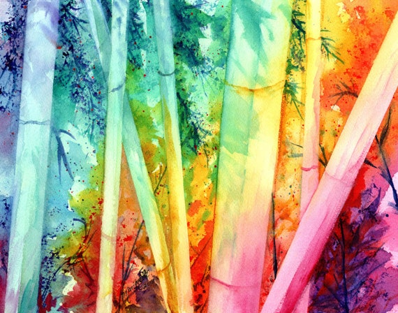 Bamboo Decor, Rainbow Bamboo, Bamboo Art Print, Oriental Decor, Hawaii Art, Hawaiian Print, Bamboo Forest, Bamboo Plant, Bamboo Wall Art
