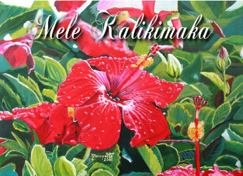 Hawaii Christmas, Mele Kalikimaka Card, Red Hibiscus Christmas, Xmas ...