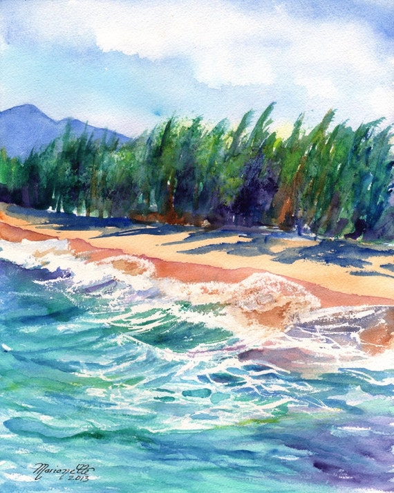 Kauai Beach print from Hawaii Giclee Wall Art Decor Seascape Vacation blue green teal sand tropical