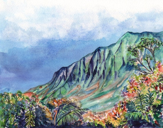 Kalalau Valley Print, Kalalau Trail, Kauai Painting, Kauai Art, Na Pali Coast, Hawaii Art Print, Hawaiian Painting, Kokee