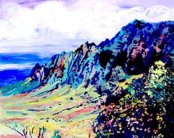 Kauai art print, Kalalau Valley, Square Print, Hawaii painting, Kauai prints, na pali,  Hawaii art, Hawaii artwork, Hawaiian prints, Kokee