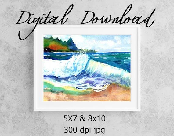 Tunnels Beach Wave Print, Printable Wall Art, Downloadable Art, Poster Art, DIY Prints, Kauai Tunnels Beach, Kauai North Shore, Print it out