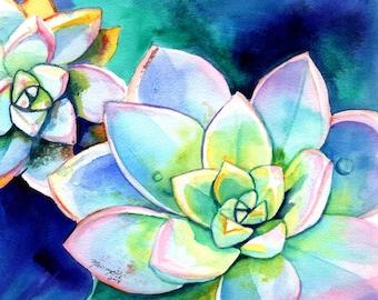 succulent wall art, succulent painting, succulent print, cactus painting, Hawaii art, Succulent plant, cactus decor, succulent artwork
