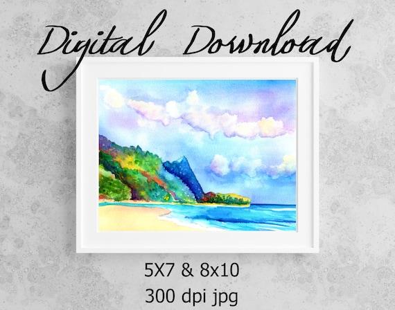Tunnels Beach Print, Printable Wall Art, Downloadable Art, Poster Art, DIY Prints, Kauai Tunnels Beach, Kauai North Shore, Kauai Beaches