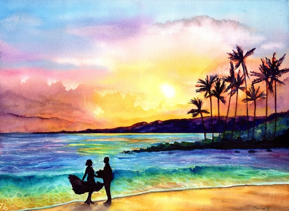 Custom Sunset with Silhouette Painting, Couples Portrait, Family Portrait, Friends Portrait, Hawaiian Portrait, Beach Portrait, Hawaii Art