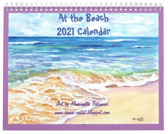 Kauai Beach 2021 Wall Calendar, 2021 Calendar, Hawaii Calendar, Illustrated Calendar, Kauai Calendars, Art Calendar, Artist Calendar