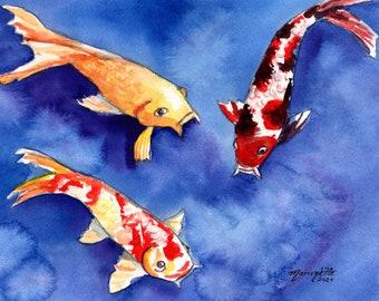 Hawaii Koi Art, Koi Wall Art, Koi Decor, Koi Fish Original Watercolor, Koi Painting, Japanese Koi, Swimming Koi, Fathers Day Gift