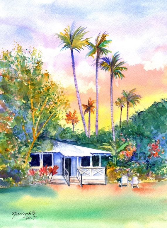 Cottage Paintings, Kauai art, kauai art print, blue cottage, Hawaiian art, tropical house, Hawaiian decor, plantation house, Waimea town