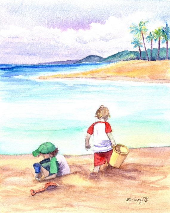 Kids at the Beach, Childrens Wall Art, Beach Boys, Ocean Decor, Beach Art, Keiki, playing in sand, Poipu Beach Kauai, Kauai Art,