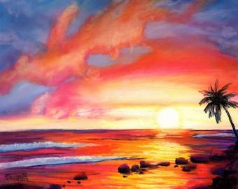 Kauai sunset, Kauai seascape print, beach sunset art, Kauai art, Hawaii paintings, colorful sunset, sunset at the beach, Kauai artwork