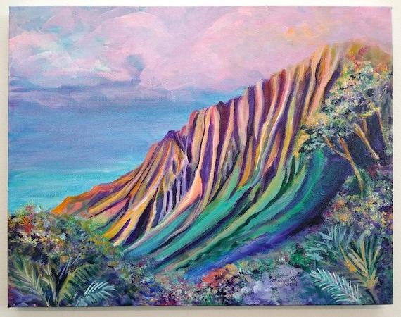 Kalalau Valley Kauai, Kalalau Fantasy, Kauai Original Acrylic Painting, Hawaii Wall Art, Kauai Decor, Hawaiian Art, Hawaii Artist