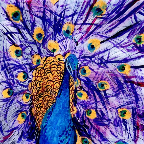peacock art work, peacock decor, peacock painting, peacock art print, tropical Bird Art, Whimscial Animal Art,  Kids Room Art