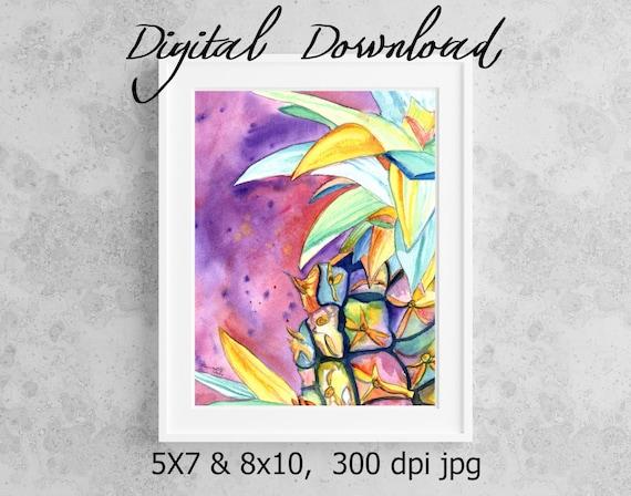 Pineapple Print, Printable Wall Art, Downloadable Art, Poster Art, DIY Prints, Hawaiian Pineapple, Hawaii Decor, Colorful Pineapple