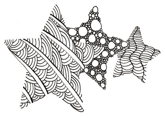 Printable DIY Zendoodle Stars card 5x7 pdf from Kauai Hawaii Mele Kalikimaka Christmas doodle black white zentangle inspired art