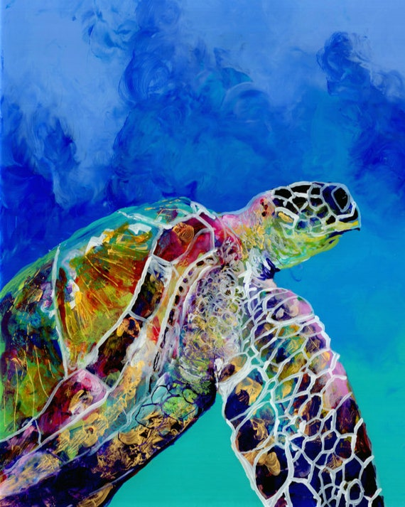 Sea Turtle Wall Art, Turtle Art Print, Sea Turtle Decor, Turtle Artwork, Hawaiian Turtle, Honu Turtle, Ocean Art, Ocean Decor, Ocean life