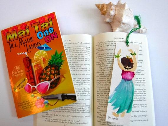 Hula Bookmark, Watercolor Bookmark, Handpainted Bookmark, Book Lover, Hula Halau Gift, unique bookmark, kumu gift, summer reads, aloha