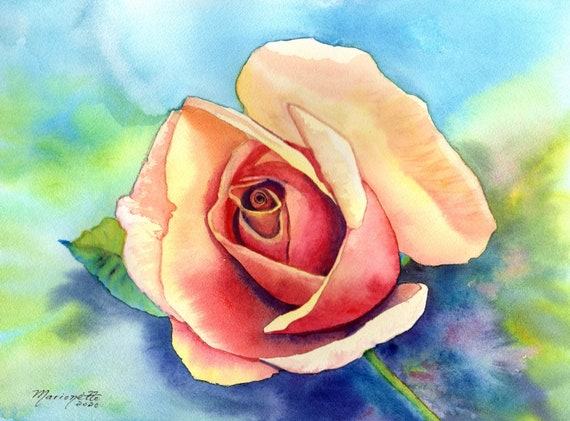 Rose Painting Original, Rose Art, Rose Artwork, Yellow Red Rose, Rose Decor, Flower Watercolor, Rose Watercolor, Rose Wall Decor