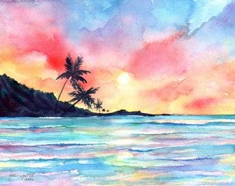 Kauai Sunset Art, Beach Wall Art, Watercolor Sunset Print, Hawaii Decor, Palm Trees, Surf Art, Hawaiian Artwork, tropical seascape painting